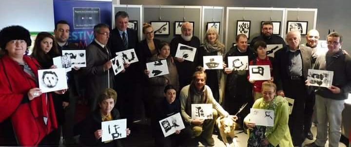 "Visitors holding drawings Festivals Malta"" art beyond light workshop"